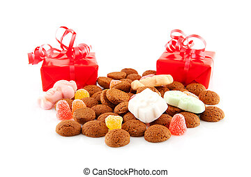 pepernoten ginger nuts and presents - Typical dutch sweets:...
