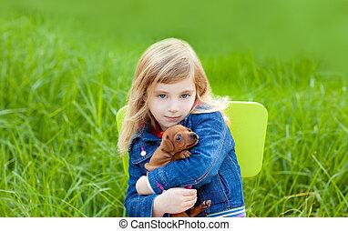 loura, criança, menina, Filhote cachorro, Animal estimação,...