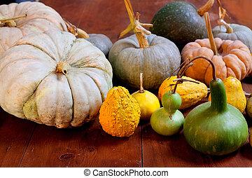 Halloween pumpkin still life on wood table