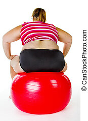 fat woman fitness - fat woman with big red gimnastic ball