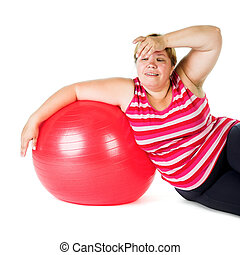 fat woman - tired fat woman with big red gymnastic ball