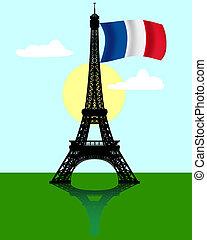 エッフェル, タワー, 旗, フランス