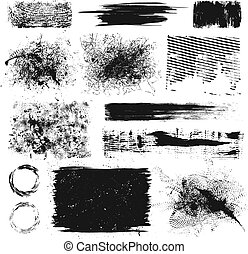 Grunge design elements - Set of grunge paint splatters and...