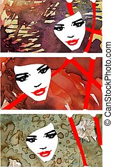 avant-garde women - three colored and watercolor portraits...