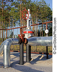 Pipeline Junction - Oil Industry. Gas pipeline with a red...
