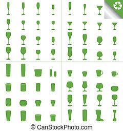 Wine Beer Glass Cup vector set