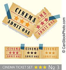 Old vintage paper cinema ticket set
