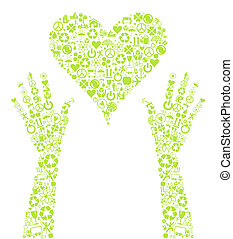 Hands holding green eco heart