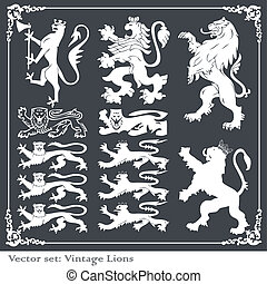 Silhouettes of heraldic elements vector