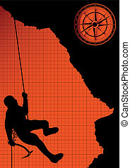 Mountain climber silhouette vector