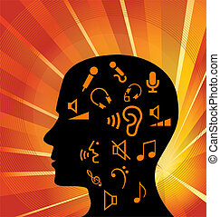 Head full of music icons vector