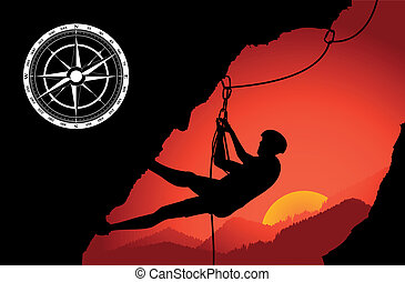 Mountain climber silhouette vector for poster