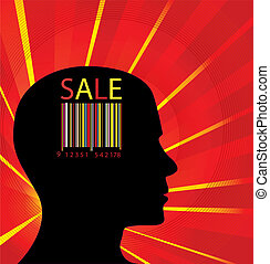 Colorful barcode head vector