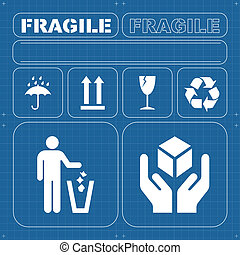 Safety fragile icon set vector