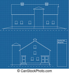 Architectural background vector house blue print