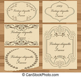 Abstract vintage frame and elements background