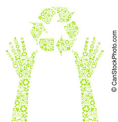 Hands holding green vector icon