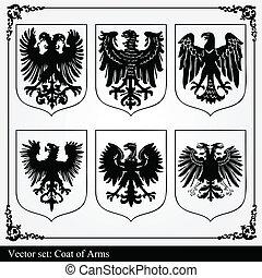 águia, agasalho, braços, heraldic
