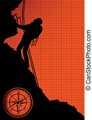 Mountain climber silhouette vector