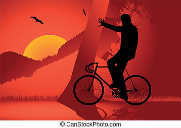Fixed gear bicycle rider vector for poster