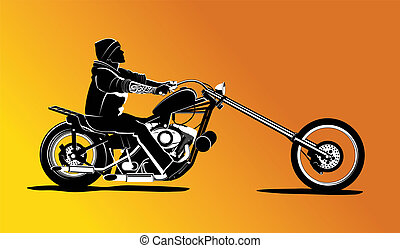 Chopper motorcycle vector with rocker