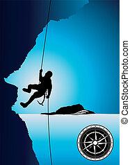 Professional mountain climber vecto