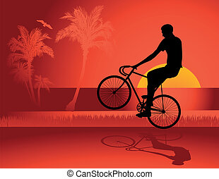 Fixed gear bicycle rider vector