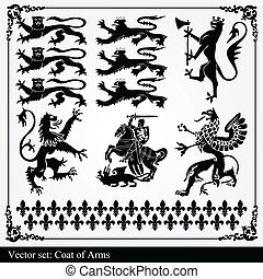 Silhouettes of heraldic elements