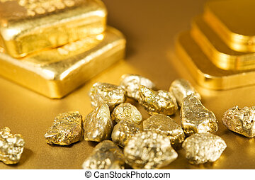 fine gold ingots and nuggets