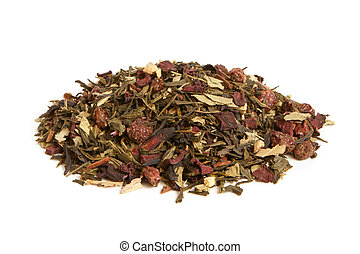 Green tea with dried fruits on a white background