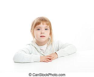blond kid girl portrait on white desk table