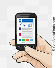 Smart phone with mobile website concept - Illustration of a...