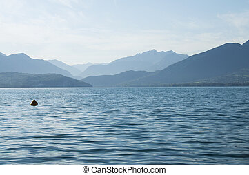 Annecy lake and mountains on morning