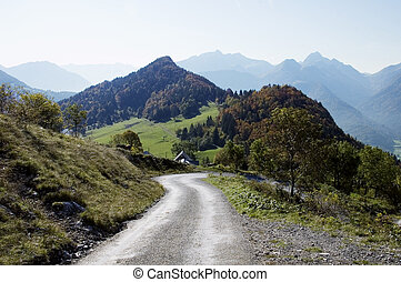 Mountains road at Forclaz in autumn time, near Annecy,...
