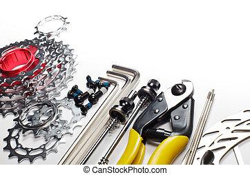 bicicleta, herramientas, REPUESTOS