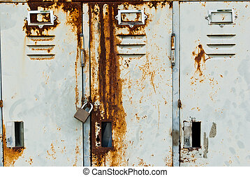 Old metal lockers background - Old rusty metal lockers...