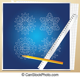 Snowflakes blueprint vector