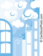 Eco town vector background
