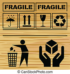 Safety fragile icon set vector background