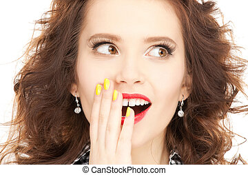 surprise - bright picture of happy woman with expression of...