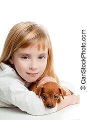 mini, Mascota, perro, rubio, niña, niño,  pinscher, mascota