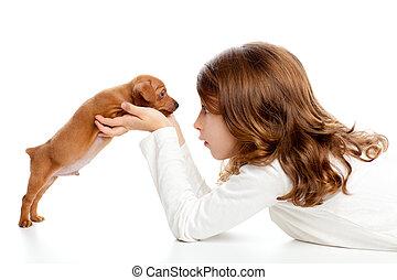 morena, perfil, niña, perro, perrito, mini, pinscher