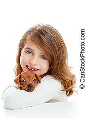 mini, morena, perro, niña, perrito,  pinscher