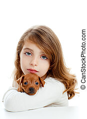 morena, niña, perrito, perro, mini, pinscher