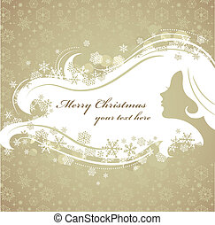 Christmas background with woman silhouette