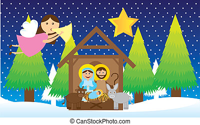 manger with angel and tree over snow, night. vector