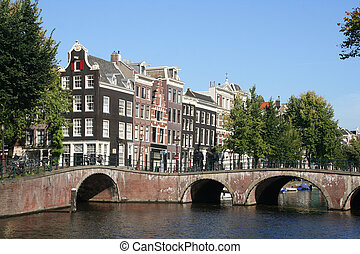 Bridge in Amsterdam, Holland - Historical bridge over canal...