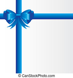 gift bow - blue gift bow over white background, blank card...