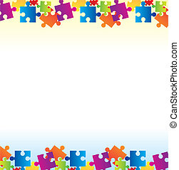 puzzles background - colorful puzzles background with copy...
