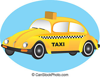 taxi vector - yellow car over blue circle. vector...